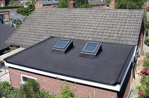 rubber flat roof with skylights